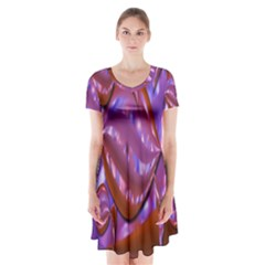 Passion Candy Sensual Abstract Short Sleeve V Neck Flare Dress