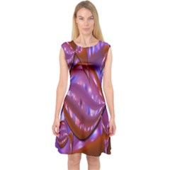 Passion Candy Sensual Abstract Capsleeve Midi Dress