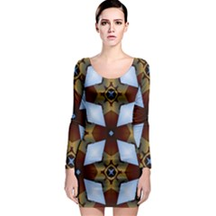 Abstract Seamless Background Pattern Long Sleeve Bodycon Dress