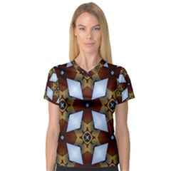 Abstract Seamless Background Pattern Women s V Neck Sport Mesh Tee