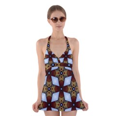 Abstract Seamless Background Pattern Halter Swimsuit Dress