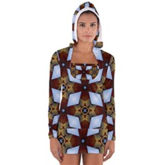 Abstract Seamless Background Pattern Women s Long Sleeve Hooded T Shirt