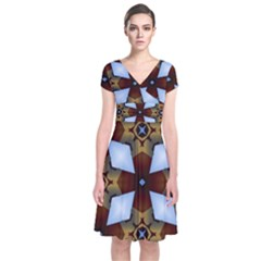 Abstract Seamless Background Pattern Short Sleeve Front Wrap Dress