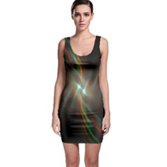 Colorful Waves With Lights Abstract Multicolor Waves With Bright Lights Background Sleeveless Bodycon Dress