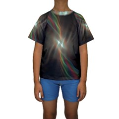 Colorful Waves With Lights Abstract Multicolor Waves With Bright Lights Background Kids  Short Sleeve Swimwear