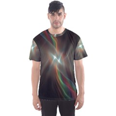 Colorful Waves With Lights Abstract Multicolor Waves With Bright Lights Background Men s Sport Mesh Tee