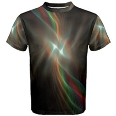 Colorful Waves With Lights Abstract Multicolor Waves With Bright Lights Background Men s Cotton Tee