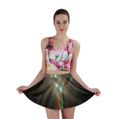 Colorful Waves With Lights Abstract Multicolor Waves With Bright Lights Background Mini Skirt
