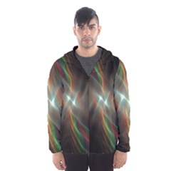 Colorful Waves With Lights Abstract Multicolor Waves With Bright Lights Background Hooded Wind Breaker (men)