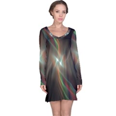 Colorful Waves With Lights Abstract Multicolor Waves With Bright Lights Background Long Sleeve Nightdress