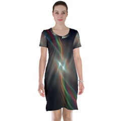 Colorful Waves With Lights Abstract Multicolor Waves With Bright Lights Background Short Sleeve Nightdress