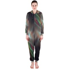 Colorful Waves With Lights Abstract Multicolor Waves With Bright Lights Background Hooded Jumpsuit (Ladies)