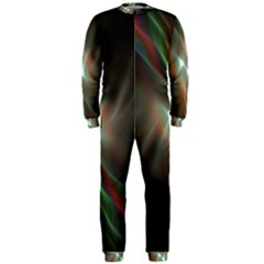 Colorful Waves With Lights Abstract Multicolor Waves With Bright Lights Background OnePiece Jumpsuit (Men)