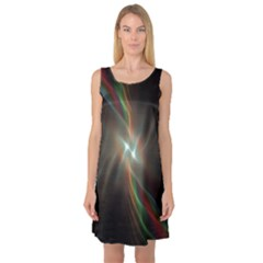 Colorful Waves With Lights Abstract Multicolor Waves With Bright Lights Background Sleeveless Satin Nightdress