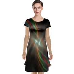 Colorful Waves With Lights Abstract Multicolor Waves With Bright Lights Background Cap Sleeve Nightdress