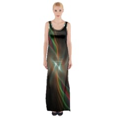 Colorful Waves With Lights Abstract Multicolor Waves With Bright Lights Background Maxi Thigh Split Dress