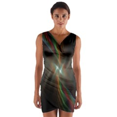 Colorful Waves With Lights Abstract Multicolor Waves With Bright Lights Background Wrap Front Bodycon Dress