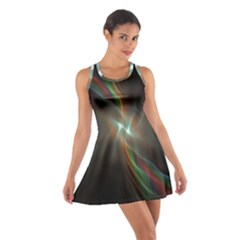 Colorful Waves With Lights Abstract Multicolor Waves With Bright Lights Background Cotton Racerback Dress