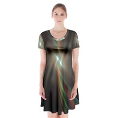 Colorful Waves With Lights Abstract Multicolor Waves With Bright Lights Background Short Sleeve V Neck Flare Dress