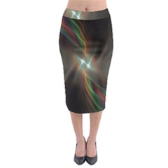 Colorful Waves With Lights Abstract Multicolor Waves With Bright Lights Background Midi Pencil Skirt