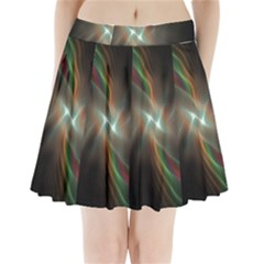 Colorful Waves With Lights Abstract Multicolor Waves With Bright Lights Background Pleated Mini Skirt