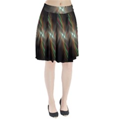 Colorful Waves With Lights Abstract Multicolor Waves With Bright Lights Background Pleated Skirt
