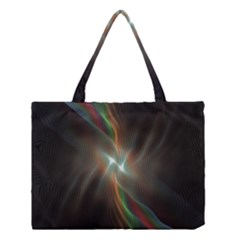 Colorful Waves With Lights Abstract Multicolor Waves With Bright Lights Background Medium Tote Bag
