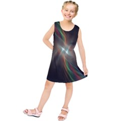 Colorful Waves With Lights Abstract Multicolor Waves With Bright Lights Background Kids  Tunic Dress