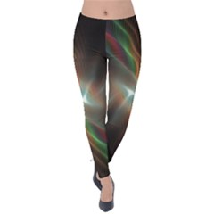Colorful Waves With Lights Abstract Multicolor Waves With Bright Lights Background Velvet Leggings