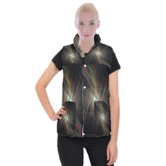 Colorful Waves With Lights Abstract Multicolor Waves With Bright Lights Background Women s Button Up Puffer Vest