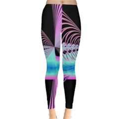Blue And Pink Swirls And Circles Fractal Leggings