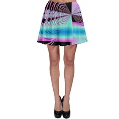 Blue And Pink Swirls And Circles Fractal Skater Skirt