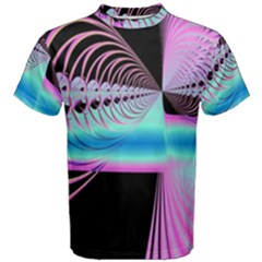 Blue And Pink Swirls And Circles Fractal Men s Cotton Tee