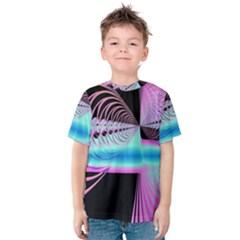 Blue And Pink Swirls And Circles Fractal Kids  Cotton Tee