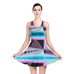 Blue And Pink Swirls And Circles Fractal Reversible Skater Dress