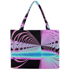 Blue And Pink Swirls And Circles Fractal Mini Tote Bag