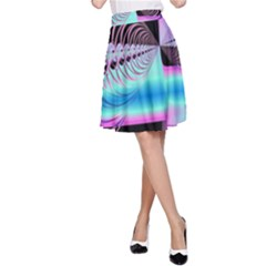 Blue And Pink Swirls And Circles Fractal A Line Skirt