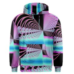 Blue And Pink Swirls And Circles Fractal Men s Pullover Hoodie
