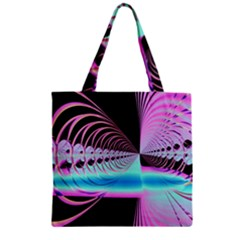 Blue And Pink Swirls And Circles Fractal Zipper Grocery Tote Bag