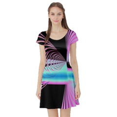 Blue And Pink Swirls And Circles Fractal Short Sleeve Skater Dress