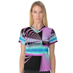 Blue And Pink Swirls And Circles Fractal Women s V Neck Sport Mesh Tee