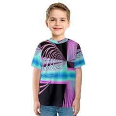 Blue And Pink Swirls And Circles Fractal Kids  Sport Mesh Tee