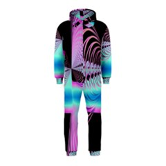 Blue And Pink Swirls And Circles Fractal Hooded Jumpsuit (Kids)