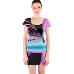Blue And Pink Swirls And Circles Fractal Short Sleeve Bodycon Dress