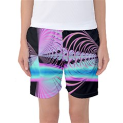 Blue And Pink Swirls And Circles Fractal Women s Basketball Shorts