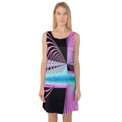 Blue And Pink Swirls And Circles Fractal Sleeveless Satin Nightdress