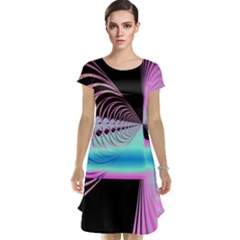 Blue And Pink Swirls And Circles Fractal Cap Sleeve Nightdress