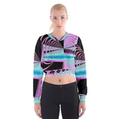 Blue And Pink Swirls And Circles Fractal Women s Cropped Sweatshirt