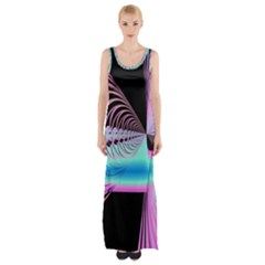 Blue And Pink Swirls And Circles Fractal Maxi Thigh Split Dress