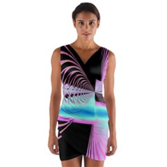 Blue And Pink Swirls And Circles Fractal Wrap Front Bodycon Dress